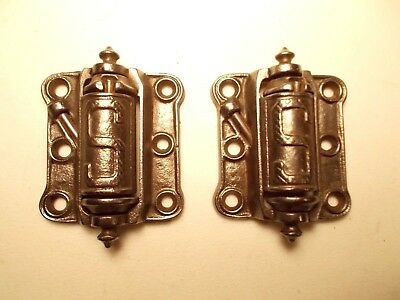Pair of Clean Antique S Screen Door Hinges Strong Spring Loaded Cast Iron