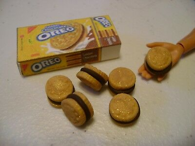 Barbie Dollhouse Food OREO'S Golden Handcrafted with a box   NEW