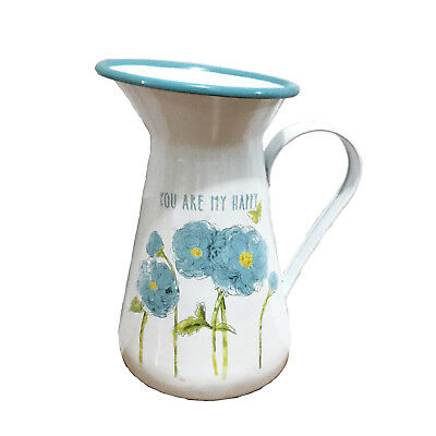 Shabby Chic Blue Flower Print Enamel Water Jug with Quote 'You Are My Happy'