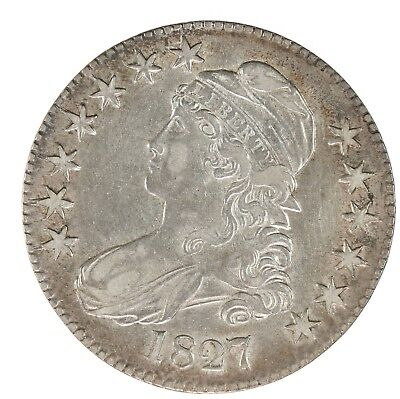 Raw 1827 Capped Bust 50C Uncertified Ungraded US Mint Silver Half Dollar Coin