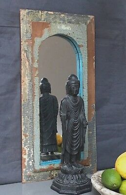 Antique/vintage Indian. Larger Arched Temple Mirror. Grey, Jade And Baby Blue.