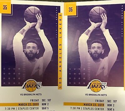 LOS ANGELES LAKERS vs BROOKLYN NETS 2 TICKETS 3/22/19 Section 107 ROW 2
