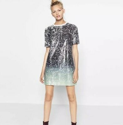Zara Womens Small Sequin Ombre Dress Green White Blue 2559