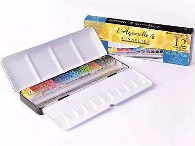 SENNELIER Artist Watercolor Metal Set 12 Half Pans +12 Empty Space (5%OFF:PUSH5)