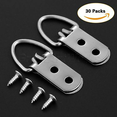 "30Pcs D-Ring Painting Picture Hangers Frame Hanging 2 Hole+60 Screws 2.1""×0.9"""