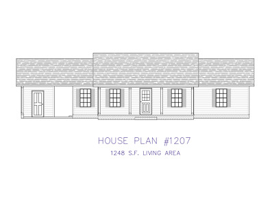 Ranch House Plans 1248 SF 3 Bed 2 Bath Single Carport (Blueprints)