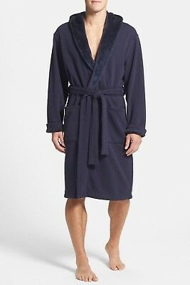 f0a0b84f19a NWT UGG MEN'S BRUNSWICK Hooded Soft Fleece Plush Bath Robe NAVY BLUE L/XL  $145