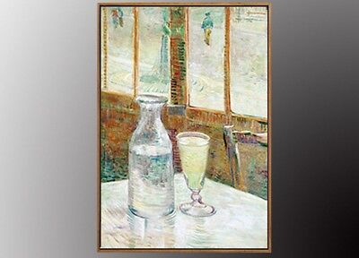 VAN GOGH Glass of Absinthe and a Carafe Oil Painting Canvas Print Gold FRAMED