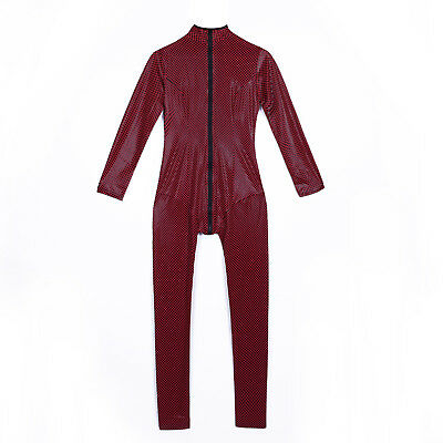 Women Sexy Close-fitting PU Leather Club Catsuit Zip Slim Fit Jumpsuit Playsuit
