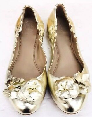 9e0a80f094d NEW TORY BURCH Blossom Floral Spark Gold Leather Logo Ballet Flat Shoes  Size 8