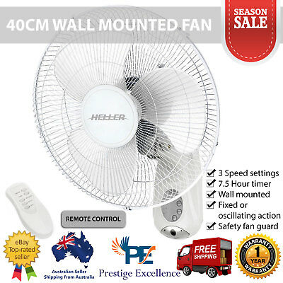 Heller 40cm Wall Mounted Fan with Remote Control Timer Oscillating Action White