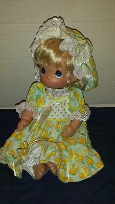 Precious Moments Doll With Stand Just Ducky Blonde Girl Yellow Green Dress