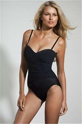 Miraclesuit Black Bandeau Swimsuit One Piece Swimming Costume Cruise