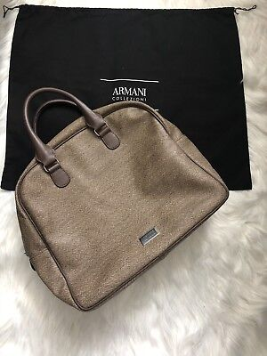 7fbcc2657948 New Armani Collezioni Brown Leather Satchel Tote Bag Big MSRP  865