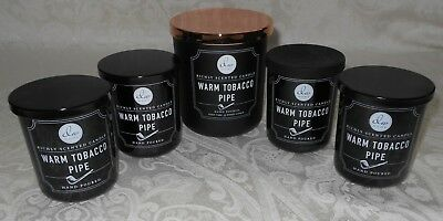 Lot 5 DW Home Hand Poured Richly Scented Candles Warm Tobacco Pipe NEW