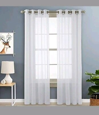 Nicetown Light Filtering Voile Panels Sheer Window Curtains