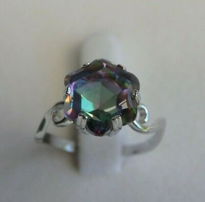 Natural Rainbow Fire Mystic Topaz Genuine Solid 925 Sterling Silver Ring - 7 8 9