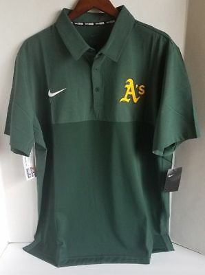 a1a5e802b2d Nike Oakland Athletics A S Mens Baseball Polo Green Golf Shirt MSRP  75  Medium