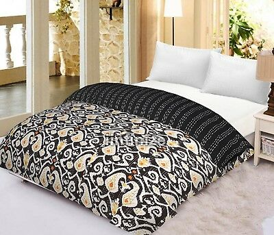Bedding Kantha Quilt Black Ikat Indian Cotton Handmade Bedspread Queen Size Gudari Home, Furniture & Diy