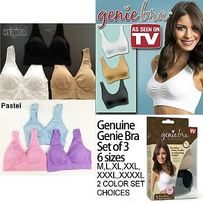 Genuine Genie Bra Set of 3 Seamless Shapewear with Padding M L XL XXL XXXL XXXXL