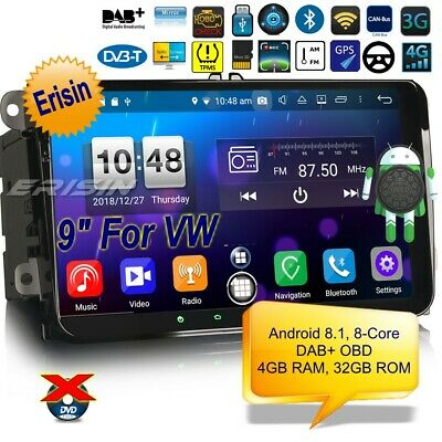 "Navigatore Autoradio Android 8.1 DAB+ For VW Passat Skoda Golf Touran T5 9""7691I"
