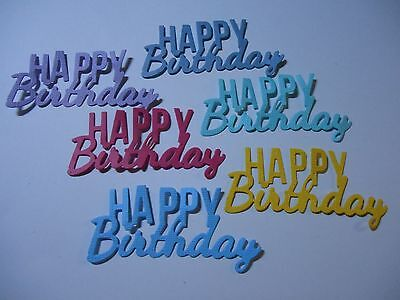 Die Cut Cardstock Happy Birthday Sentiment  Embellishments x 6 PC