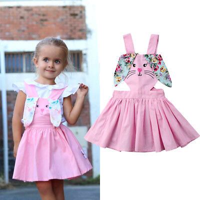 Toddler Girls Easter Bunny Dress Floral Princess Strap Backless Sundress Outfits