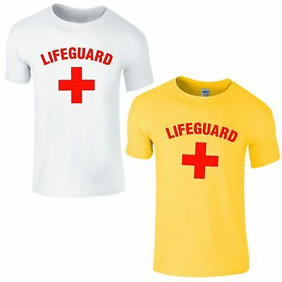 Lifeguard Cross T Shirt First Aid Costume Swimming Party Dress Mens Ladies Top