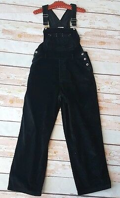 Vintage black cord corduroy workwear dungarees full length overalls L