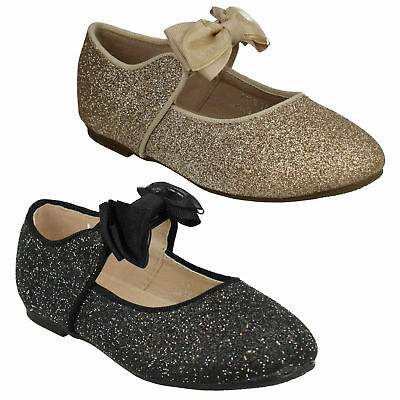 Spot On Girls Bow Trim Flat Ballet Pumps Sparkly Party Dolly Shoes H2R537 Size