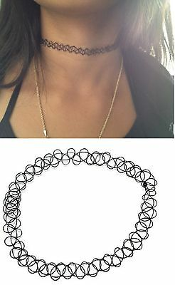 Tattoo Choker Necklace Stretch Henna Vintage Elastic Retro Black 80s 90s Hippy