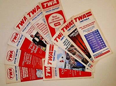 11 TWA Timetables Trans World Airways Vintage 1972-1976