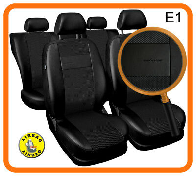 Car seat covers fit Ford Focus Mk1 - full set black leatherette/polyester
