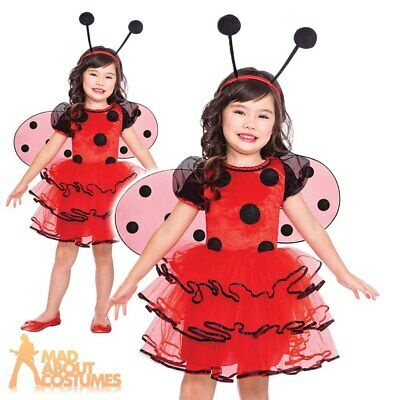 Kids Ladybird Costume Girls Bug Book Week Day Childs Insect Fancy Dress Outfit