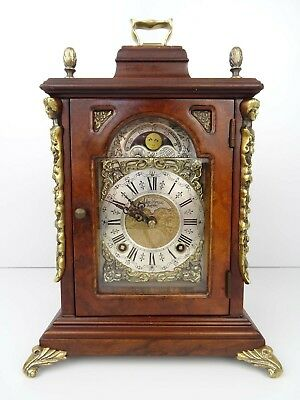 DUTCH Vintage Antique Mantel Shelf MOONPHASE Clock 8 day (Warmink Wuba era)