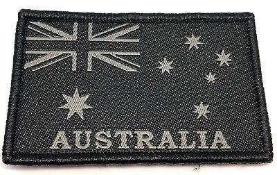 Australian Flag Woven Patch, Black / Subdued, Hook Rear, 70mm x 45mm, 1 x Item