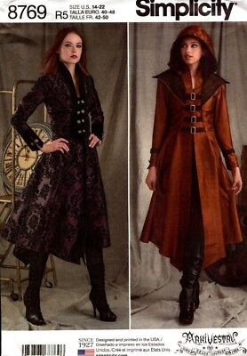 Simplicity Sewing Pattern 8769 Ladies Costume Coat Jacket Cosplay Size 14-22