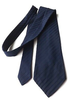 Vintage KIPPER Neck Tie 1970s 4.5 Inch Blade Plain Dark Blue Stripe  FREE P&P