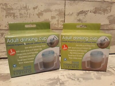 2 Adult Drinking Cup STRONG HANDLES Wide Base 2x Anti Splash Lids Aid Disability