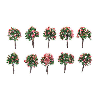 10PCS HO Scale Model Trees Model Tree with Pink Flower for Railroad Scenery Cs