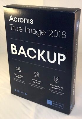 BRAND NEW Acronis True Image 2018 2019 Upgradeable 3 Computer Device PC FAST