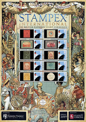 2019 Spring Stampex Smiler Sheet Rare Commonwealth Stamps Philatelic Traders Soc