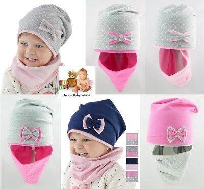 Girls Kids Hat With Tube Scarf BEANIE 2pcs set Cotton Spring Autumn GIRL