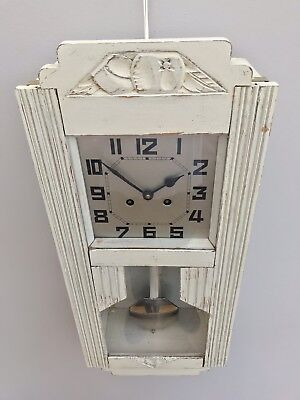 Painted Art Deco Pendulum Wall Clock sold Spare Repair Project Old Carved