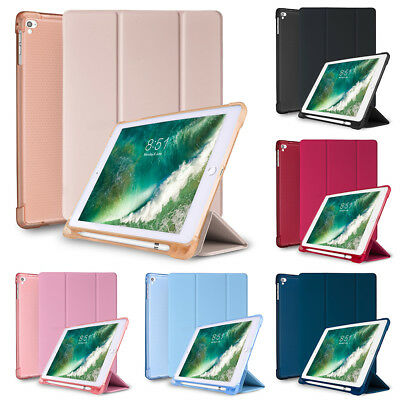For iPad 9.7 5th Generation Case with Built-in Apple Pencil Holder Smart Cover