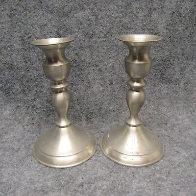 """PAIR Leonard Genuine Pewter Weighted Candlestick Holders Bolivia 6-1/2"""" Tall"""