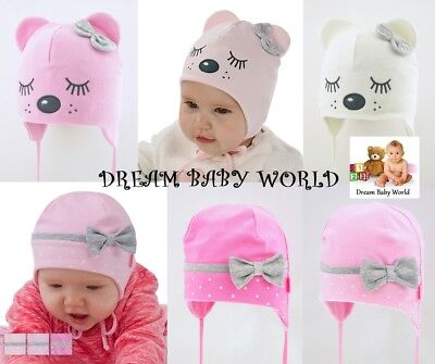 RICH Cotton baby girls TIE UP hat SPRING size 0 - 12 months KIDS toddler CAP