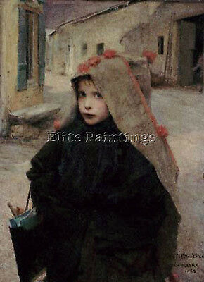 Jules Bastien-Lepage Going To School Artist Painting Reproduction Handmade Oil