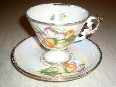 Sterling China Tea Cup & Saucer Set Floral Mother Of Pearl March Daffodil