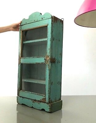 Antique/Vintage Indian, Tall Art Deco Display/Bathroom Cabinet.teal & Turquoise